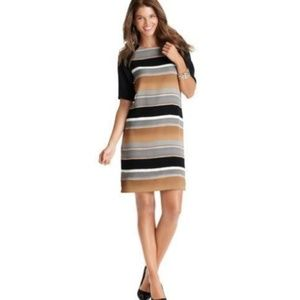 LOFT Watercolor Stripe Crepe Shirt Shift Dress